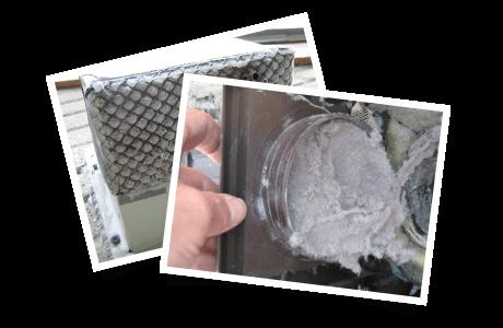 Trappe extérieure obstruée par la charpie / Clapet extérieur bloqué par la charpie