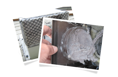 Outdoor exhaust termination blocked with lint / Outdoor hood blocked with lint